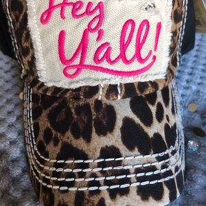 HEY,  Y'ALL!  LEOPARD PRINT PATCH EMBROIDERY CAP